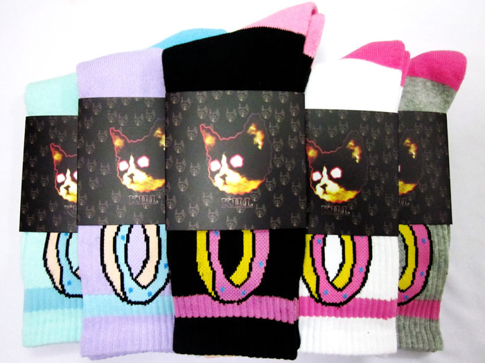 382ce7d69ddf 24pcs 12pair cotton Fashion cat odd future donut thicken bottom hiphop men  Walking Socks 24pcs lot