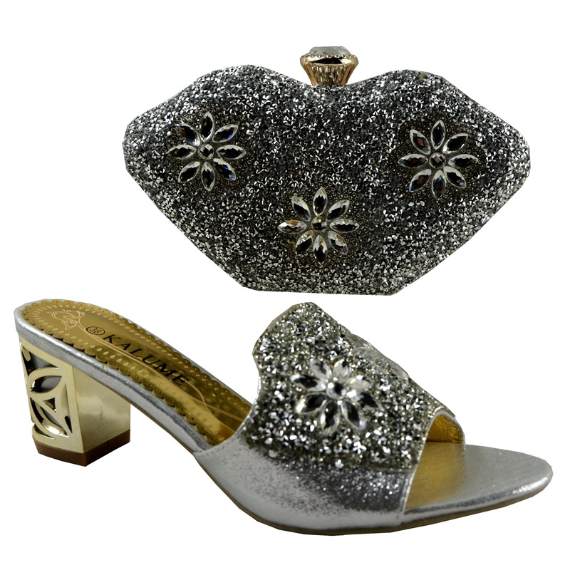 No 1281 2016 Charming Italian Shoes With Matching Bags Rhinestones Silver African Shoes And Bags
