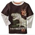 Dinossauro Dino crianças menino roupa Do Bebê dos Meninos T-shirt de Manga Longa Crianças T-shirt Camisas 100% Algodão Encabeça camiseta Infantil