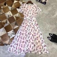 Летнее Длинное Платье Для женщин элегантный короткий рукав шелковое платье для леди 2019 Новый Цветочный принт Белое Женское платье Повседне