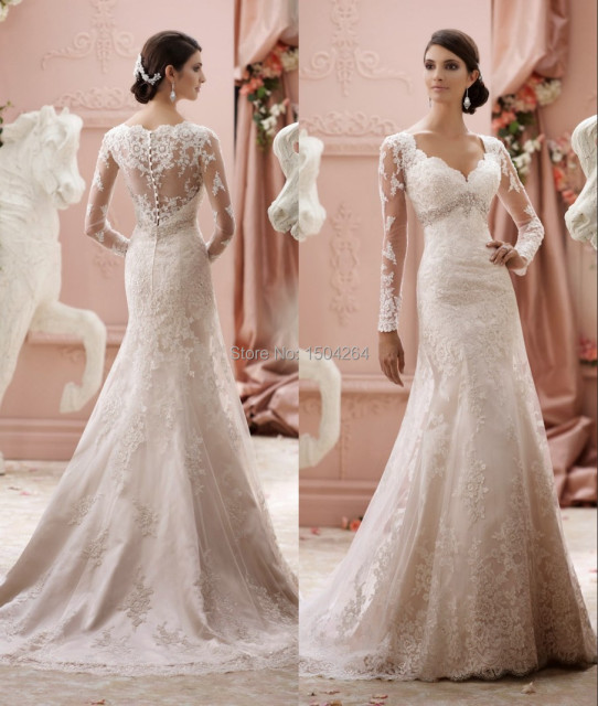 long sleeves wedding dresses 2015 scalloped neck elegant bride dress