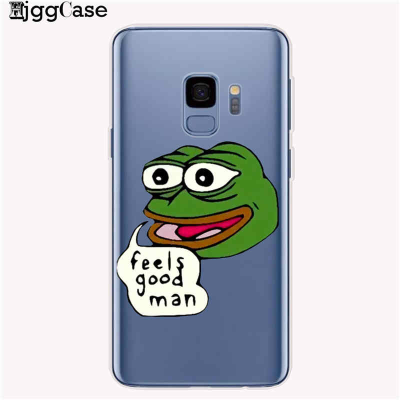 Śmieszne żaba Pepe twarz płacz szczęśliwa para przypadku telefonu do Samsung Galaxy A10 A20 A30 A50 A70 J6 A6 A8 Plus 2018 A5 2017 pokrywy skrzynka