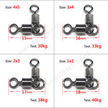 50pcs Double Double buckle MS swivels Ball Bearing Solid Rings Rolling swivel Fishing Connector Fishing Hook Accessories
