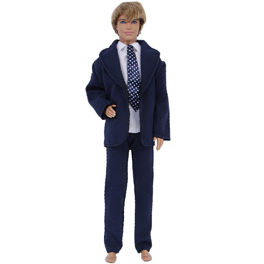 3 In 1 Formal Suit Wedding Party Wear White Shirt Dot Tie Trousers Pants Blue Clothes For Barbie Doll Friend Ken Accessories Toy3 In 1 Formal Suit Wedding Party Wear White Shirt Dot Tie Trousers Pants Blue Clothes For Barbie Doll Friend Ken Accessories Toy