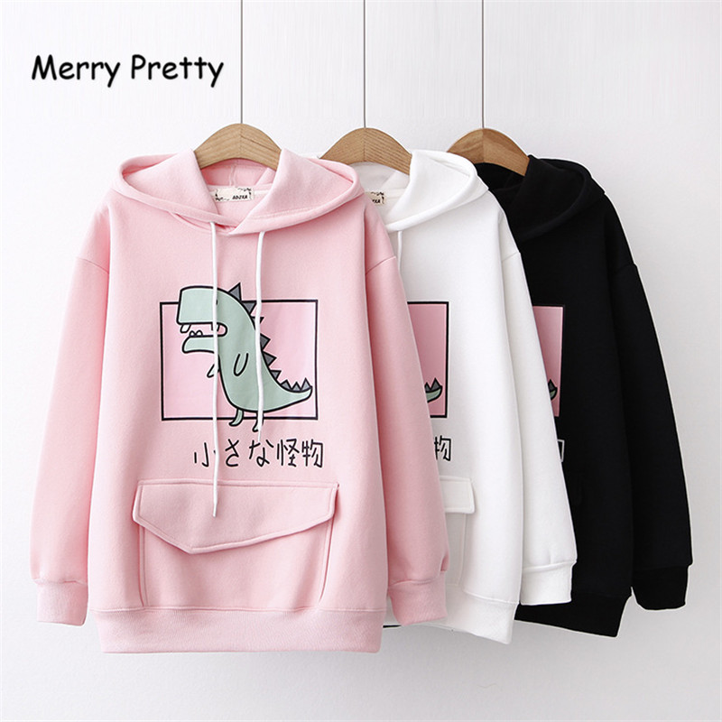 Merry Pretty Winter Fleece Thick Hoodies Cartoon Dinosaur Printed Sweatshirt Women's Clothes Sweet Hooded Drawstring Pullover