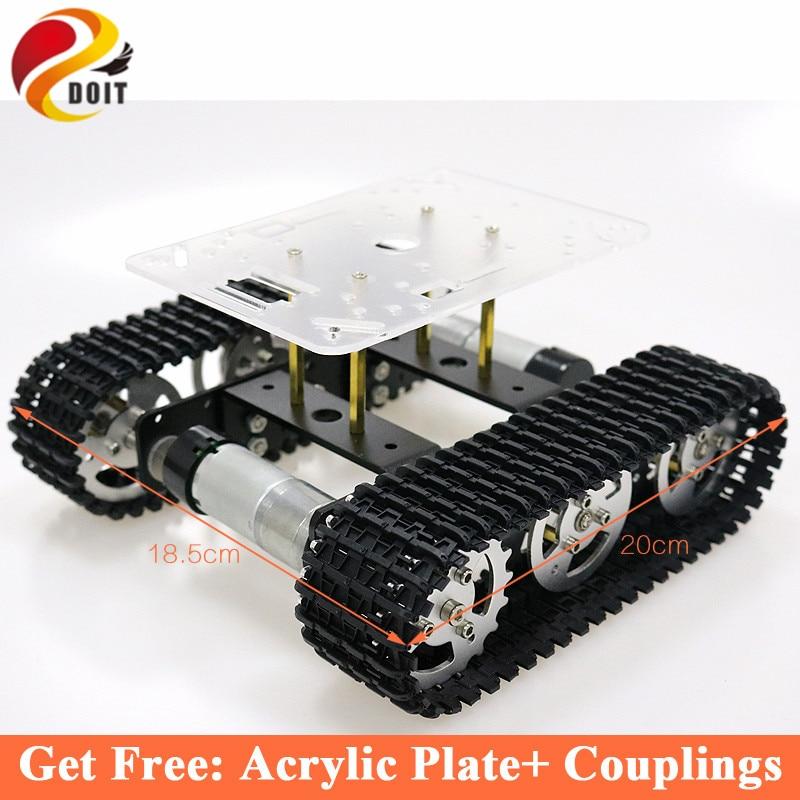 RC Métal Robot Tank Car Châssis mini T100 Sur Chenilles Caterpillar Véhicule À Chenilles avec En Plastique Piste pour Arduino diy éducatifs kit