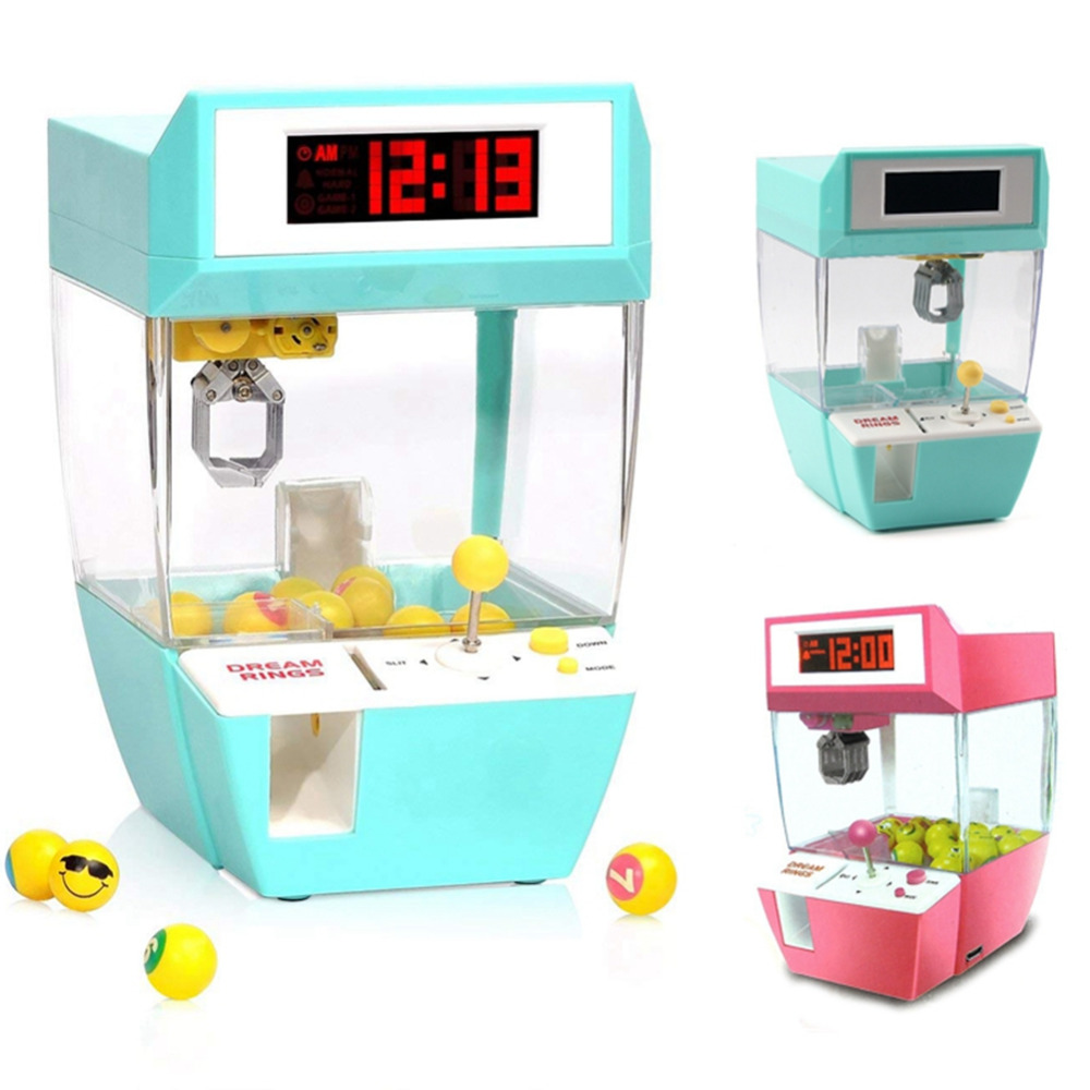 Candy Grabber Mini Claw Machine Game Crane Grabber Toy Electronic Desk Table Watch Digital Nixie Children alarm Clock for Kids