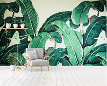 цена на Beibehang Wall paper home decor mural fresh green banana leaf oil painting TV background wall living room bedroom 3d wallpaper
