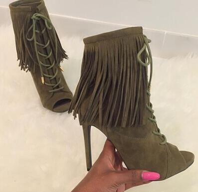 2016 Hot Selling Women Peep toe Ankle Boots Suede Fringe Pumps Stiletto Heels Tassel Lace-up Dress Shoes Women Size 34-41 young girl s black suede open toe lace up ankle sandal boots stiletto heel fringe dress shoes braid embellished party shoes