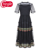 Vintage Women Summer Dresses 2019 Novelty Short Sleeves Mesh Hollow Out Sexy Embroidery Runway Dress