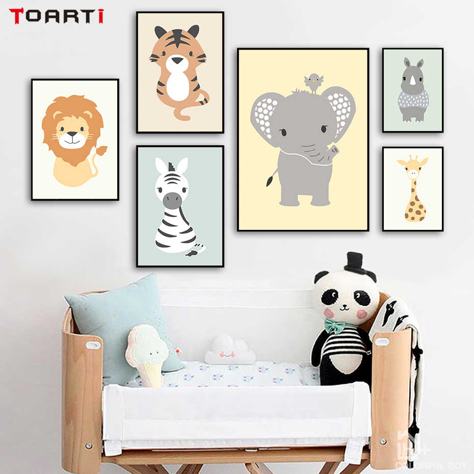 Cartoon Woodland Animals Tiger Elephant Canvas Painting Posters And Prints Wall Pictures For Kids Room Nordic Home Decoration
