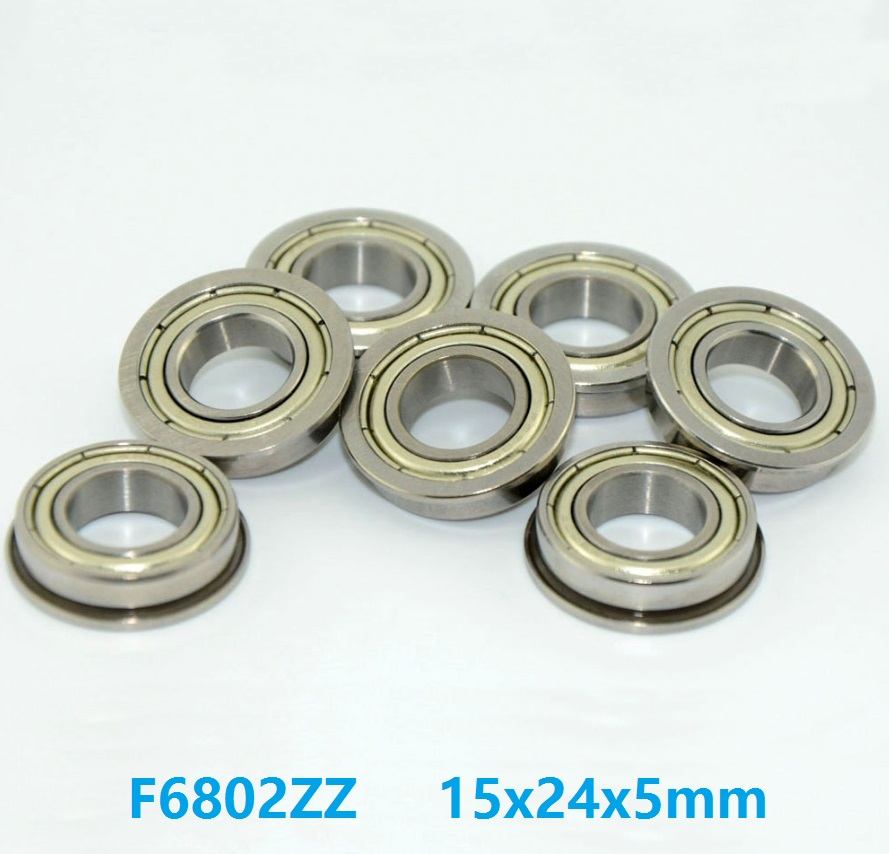 100pcs/lot F6802ZZ F6802Z F6802 ZZ Z 15x24x5 mm flange deep groove Ball Bearing double shielded flanged F <font><b>6802ZZ</b></font> 15*24*5mm image