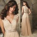 Black Champagne Women Long Elegant Prom Dresses 2015 V Neck Lace Evening Dress Chiffon Vestidos de Gala