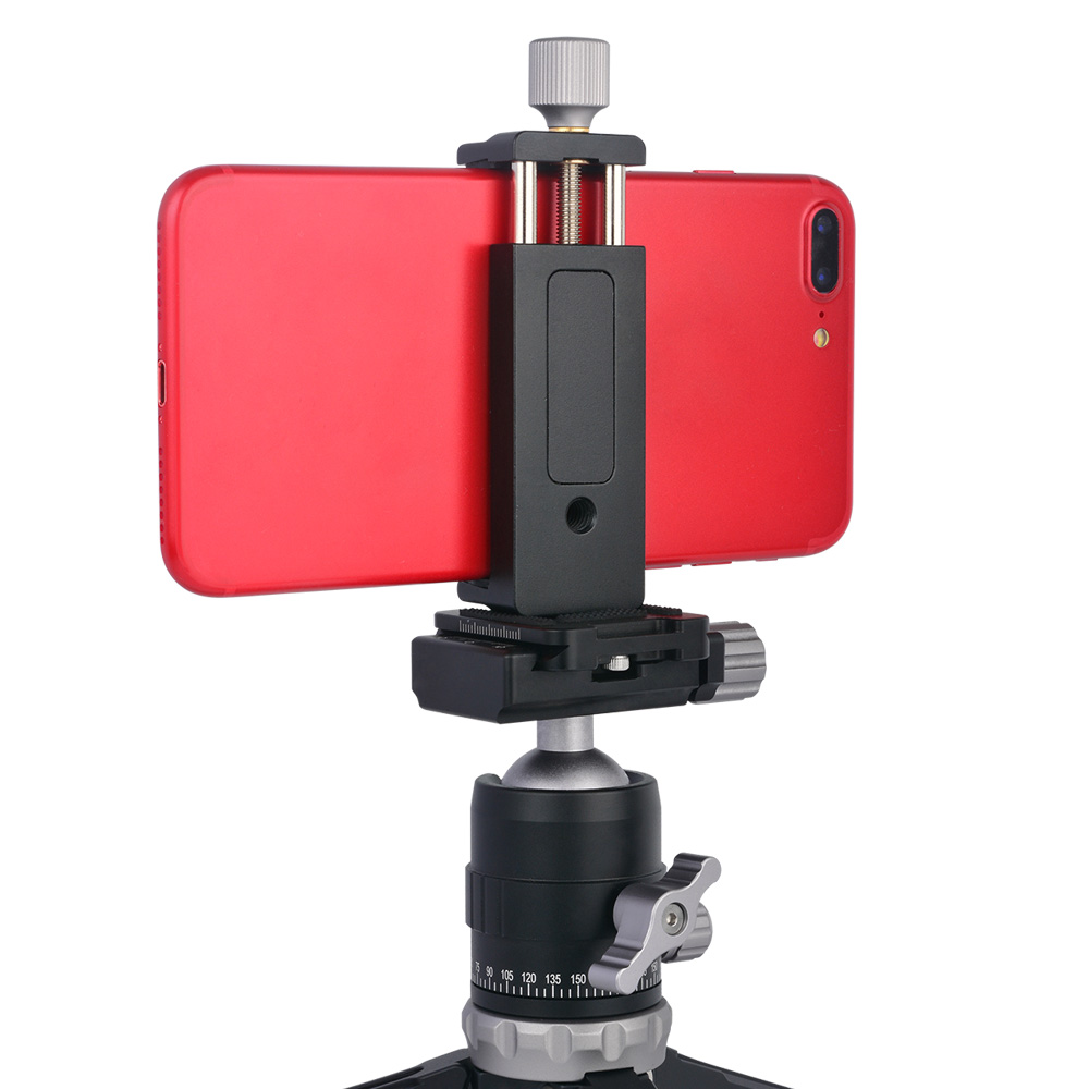 Moveski SJ-02 Smartphone Tripod Clamp Mount Aluminum Metal Universal Clamp Holder Clip For 4-6 Inch Smart Phone