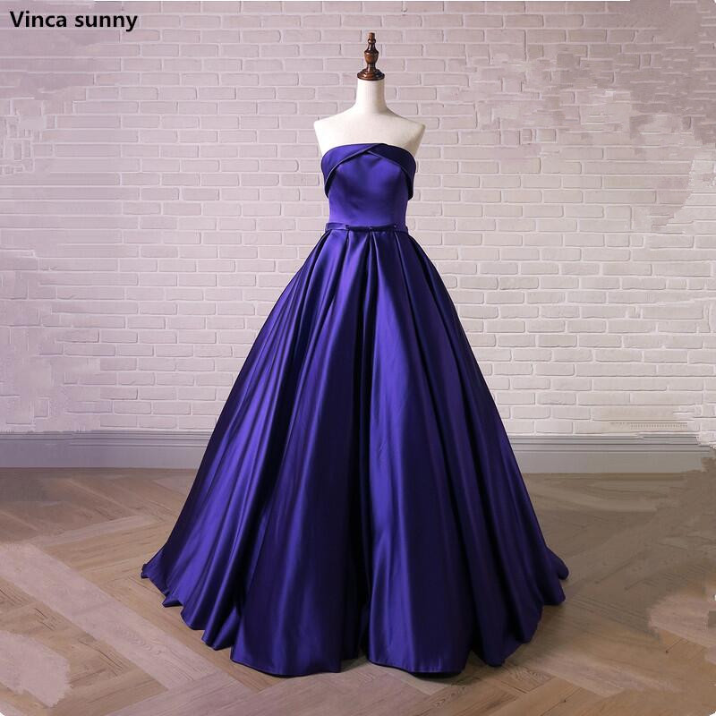 Cheap Blue   Evening     Dresses   Strapless Sleeveless A-line Party   Evening   Gowns Sweep Train Vestido De Festa Customized Color