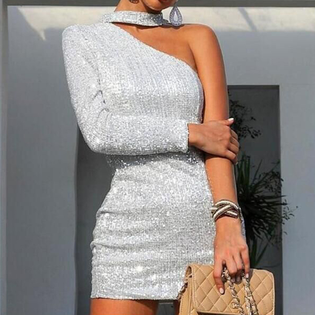 ac246111b One Off Shoulder Glitter Bodycon Dresses Women Long Sleeve Slim Party Dress  With Choker Silver Night