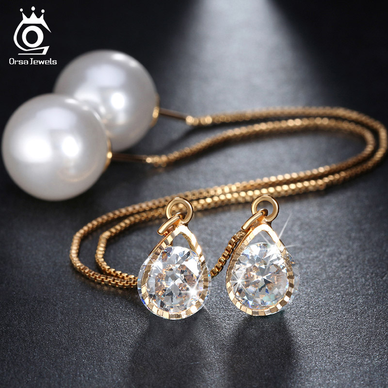 ORSA JEWELS New Water Drop Shape Austrian Crystal Long Stud Earrings with big Pearl Elegant Gold color Jewelry for Women OME27