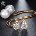 Forma de Gota de Agua de Cristal Austriaco Stud Pendientes Largos de moda con gran Perla Elegante Plateado Oro de La Joyería para Las Mujeres OME27