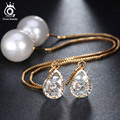 Trendy Water Drop Shape Austrian Crystal Long Stud Earrings with big Pearl Elegant Gold Plated Jewelry for Women OME27