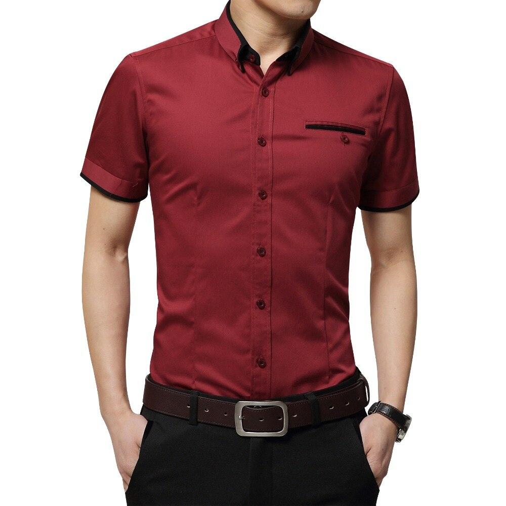 Новое поступление 2017 года бренд Для мужчин летние Бизнес рубашка Рубашка с короткими рукавами отложной воротник под смокинг рубашка Для мужчин Рубашки Для Мальчиков Большой Размеры 5xl