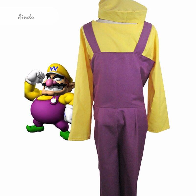 Ainclu Anime Costume Fashionable Super Mario Bros Wario Cosplay Costume For Free Shipping new fashion luigi super mario bros cosplay adult size hat cap baseball costume