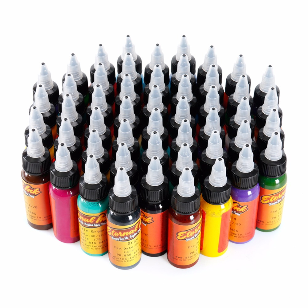 50 Color Tattoo Body Art Kit 30ml Permanent Makeup Pigment Set Microblading Tattoo Ink Pigment 1oz
