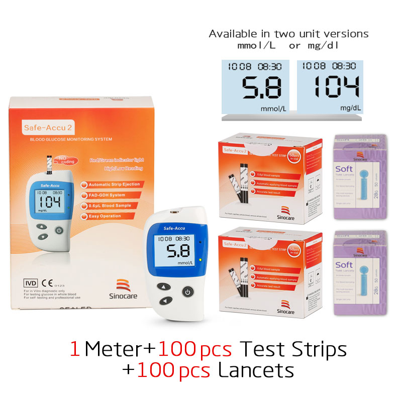 Sannuo Accu2 Blood Glucose Meter With 100 Test Strips And Lancets Needles For Diabetes Blood Glucometer Blood Sugar Detection