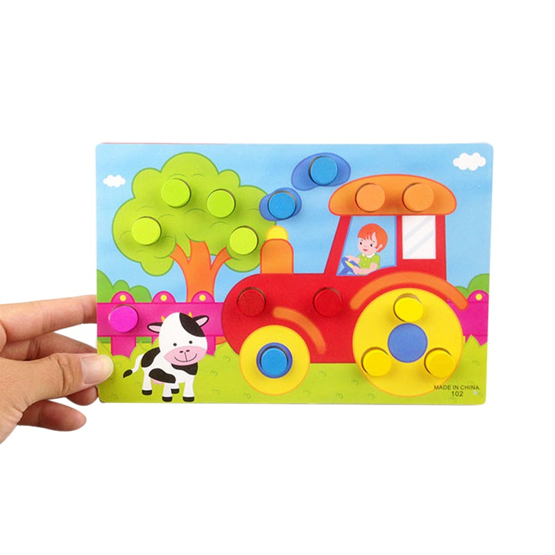 New Design Baby Early Education Toys New Hand Grip Wooden Palette Recognition Paired Board