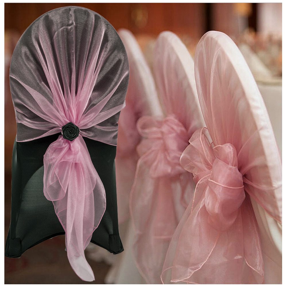 10pcs Organza Chair Hoods / Chair Caps / Wrap Tie Back / Chair Cover Sash For Wedding Event&Party&Banquet Decoration