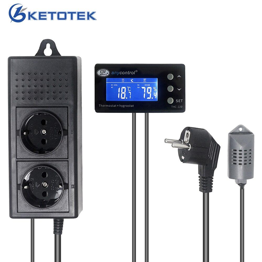110V 220V AC EU UK US Thermostat numérique Hygromstat THC-220 température humidité contrôleur chaleur Cool sortie Humi Dehumi sortie