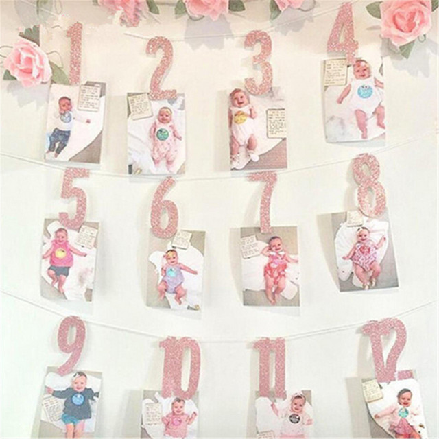 Baby Girl Boy One Year Old First Birthday Decorations Gold Pink