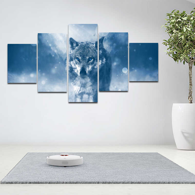 5 Panels /set Wolf Animal Poster Print Blue Eyes Wolf Canvas Painting Wall Art Picture For Living Room Cuadros Painting Unframed