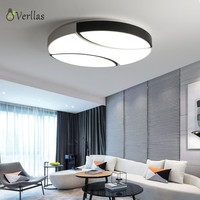Northern Europe Style Modern Round Ceiling Lamp For Bedroom Study Room 2 Colors Change Dimming Luminaire