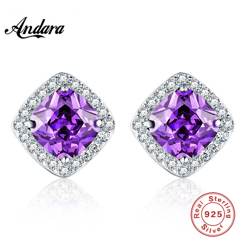 100% 925 Sterling Silver Shine Austria <font><b>Crystal</b></font> Stud Earrings for Women Men. Anti Allergy and Not Fade Zircon Jewelry image