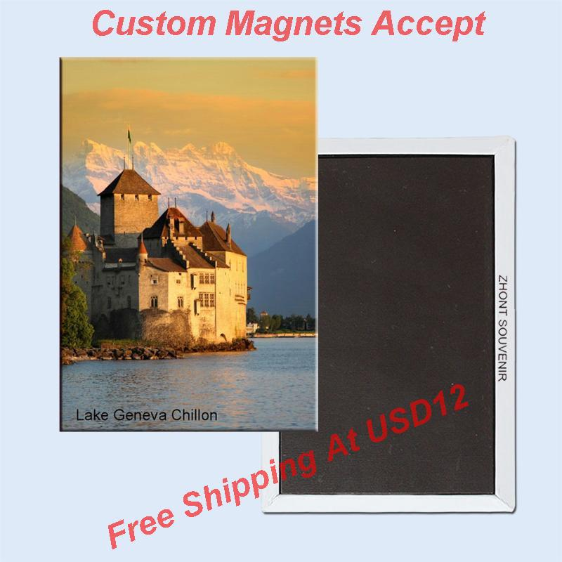 Tourist Magnets ,Switzerland Lake Geneva-Chateau Chillon Souvenir Photo Fridge Magnet 5638 Travel Gift tourist attractions