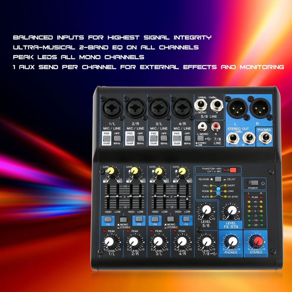 8 Channel Professional DJ Powered Mixer Power Mixing Amplifier USB Slot 16DSP +48V Phantom Power for Microphones микрофон blue microphones yeti usb