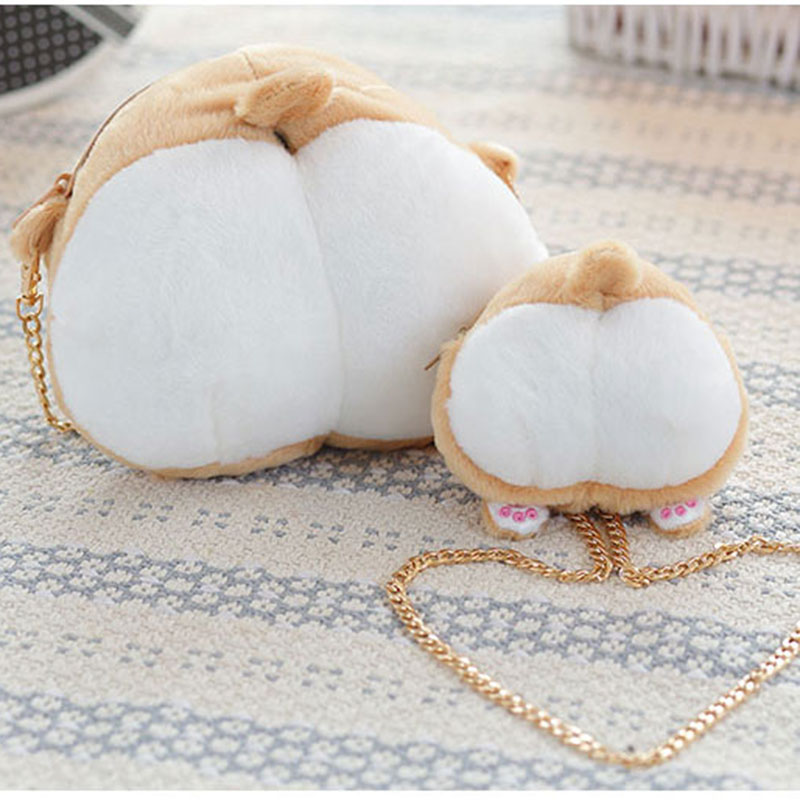 Cute Pet Dog Butt Plush Backpack Corgi Butt Shape Coin Purse Animal Plush Backpack Creative Corgi
