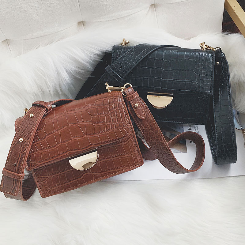 Designer Crocodile Crossbody Bag Wide Shoulder Strap Women Shoulder Messenger Bag Buckle Small Flap Bags Casual Clutch Hand Bags Сумка
