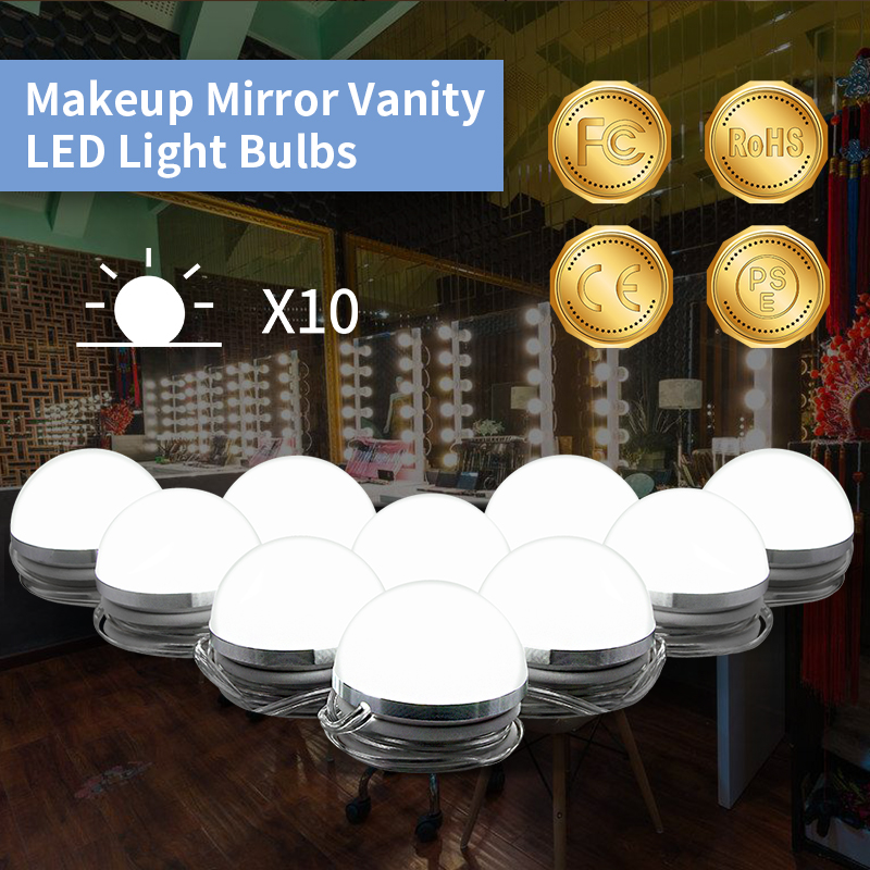 Vanity Makeup Led Light Bulbs Kit Stepless Dimmable 10 Bulbs