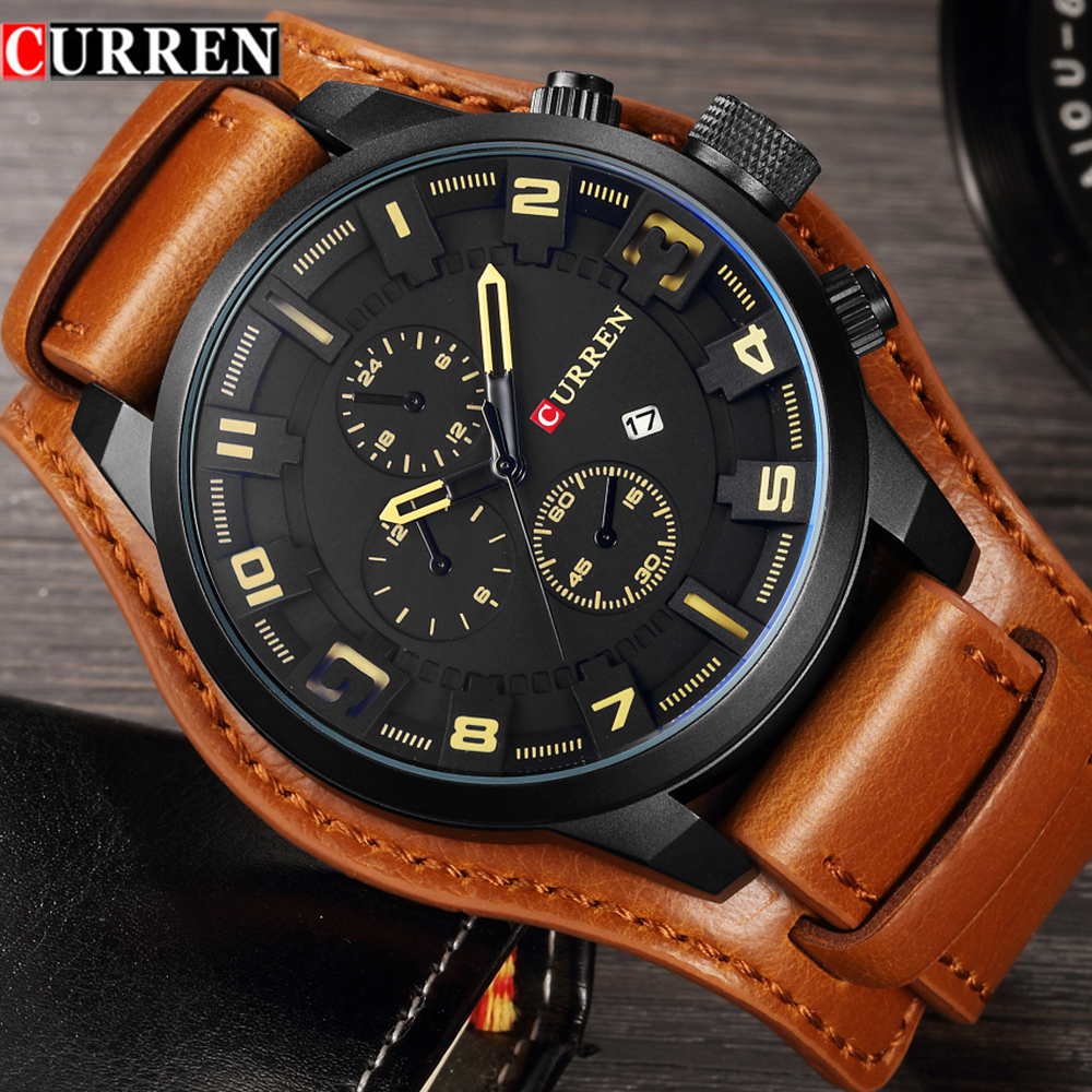 Curren 8225 hombres Relojes Top marca de lujo reloj de cuarzo hombres Deporte Militar Dropship reloj Hodinky Relojes Hombre Relogio Masculino