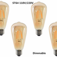 ST64 LED 2W 4W 6W 8W bombilla de filamento de oro regulable E27 luz LED 220V 110V bombilla Edison Vintage lámpara de aspecto de vidrio de oro Retro