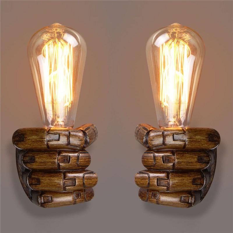 Vintage Right Left Hand Night Wall Light Lamp E27 Edison Bulbs Bar Coffee Shop Loft Study Foyer Dining Room Home Decor