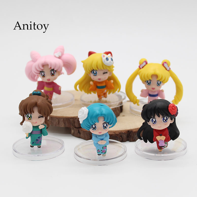 6pcs/set Sailor Moon Tsukino Usagi Chibi Usa Sailor Mars Mercury Venus Jupiter Kimono PVC Action Figure Model Toys 5cm KT3731 подвесной светильник bohemia ivele 7715 22 1 g drops