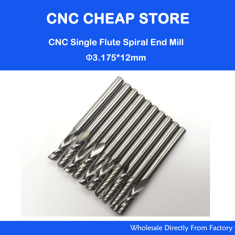 10pcs 1/8 Cnc Bits Single Flute Spiral Router Carbide End Mill Cutter Tools 3.175 x 12mm 3 175 12 0 5 40l one flute spiral taper cutter cnc engraving tools one flute spiral bit taper bits