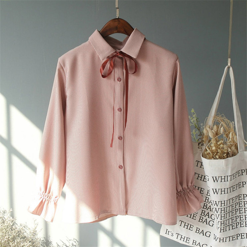Preppy Style Petal Sleeve Tops Casual Long Sleeve Blouse Spring Shirt Women Fashion Bottoming Sweet Chic Summer Top TT3842