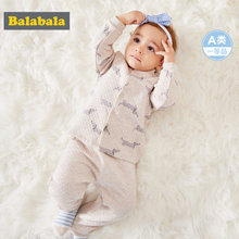 Balabala Infant Baby Boy 2-Piece Cotton Lined Printed Baseball Jacket + Pull-on Pants Set for Winter Newborn Baby Clothing Set(China)