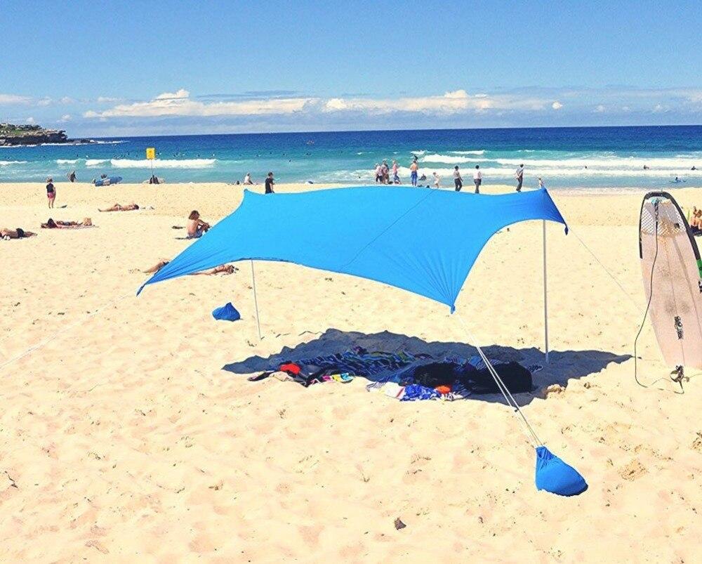 Sombrilla de playa con arena anclas y 2 Envío polos UPF50 + tela Lycra calidad perfecta Dom refugio - 5