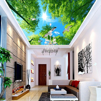 Hall ceiling decor Digital Printed and UV printing false ceiling new design of blue sky ceiling film