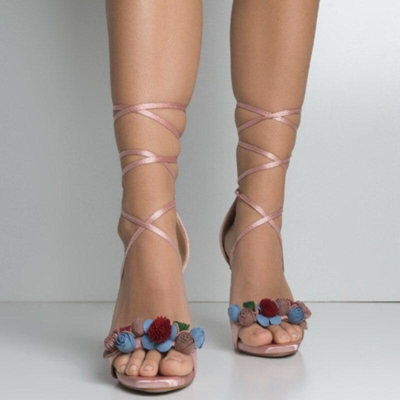 Soirée Sandales Picture Sexy 2019 Creux Chaussures De Stilettos Ouvert Souliers Fleurs Bout As Talons D'été Dames Lacets Décoré Femmes Élégantes À Hauts 1ISnpwZq