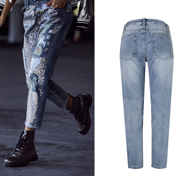 2018 Europe and the United States women`s fashion waist loose straight jeans denim pants ultra-popular metal color embroidery beads washed old holes (5)